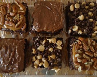 Gourmet Brownie Six pack sampler,  Gourmet brownies, Gourmet handmade brownies, Christmas Care package, Chocolate moist brownies