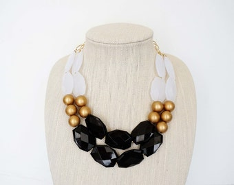 Black, Gold, and White Faceted Bead Statement Necklace
