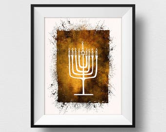 Menorah Print, Hanukkah Print, Jewish Wall Art, Menorah Hanukkah Art, Jewish Candelabrum, Israel Home Decor Theme, Watercolor Menorah (N538)