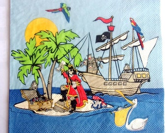 20 napkins identitiques PIRATE island and boat REF.   3842