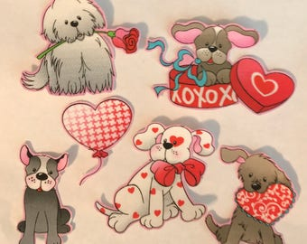 Loving Pups, Cute little Dogs - Iron On Fabric Appliques