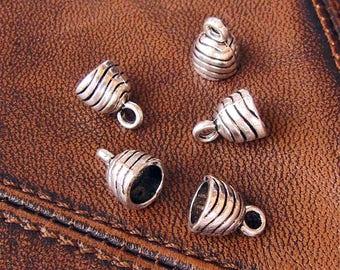 20 cords ends antique silver metal, dimension: 11mm x 9mm