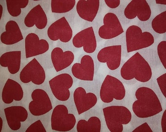 Red Hearts on White Cotton Fabric
