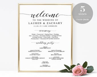 Wedding Timeline Sign Template Wedding Program Sign - Wedding program sign template