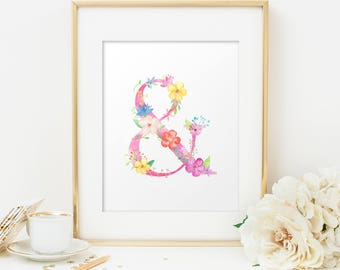 Ampersand, Ampersand wall art, Ampersand decor, Home decor, Floral print, Floral poster, and symbol, Ampersand sign, Ampersand poster