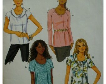 Front Pleat Top Pattern, Loose-fitting, Gathered Neck, Rolled Collar, Raglan Sleeves, Long/Short, Butterick No. 5561 UNCUT Size 8 10 12 14