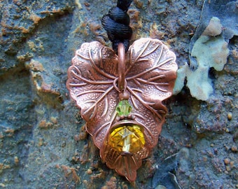 Copper Heart Shaped Leaf Necklace