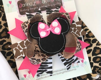 Miss Mouse Bow - Animal Kingdom Miss Mouse Bow - leopard, giraffe, zebra and hot pink by Darling Little Bow Shop