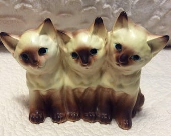 Vintage Napco Trio of Siamese Cat Figurine Planter 1960s Porcelain made in Japan