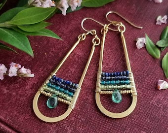 Beaded Apatite Teardrop Earrings in Gold > Lapis, Iolite, Apatite, and Peridot Gems - Gemstone Jewelry, Boho Luxe