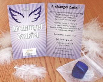 Archangel Zadkiel guidance card with Lapis lazuli, angel, Archangel Zadkiel, guidance, crystal, lapis lazuli, archangel guide, archangel