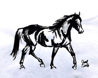 RESERVED - Horse art original ink sketch drawing - Rhaya jog