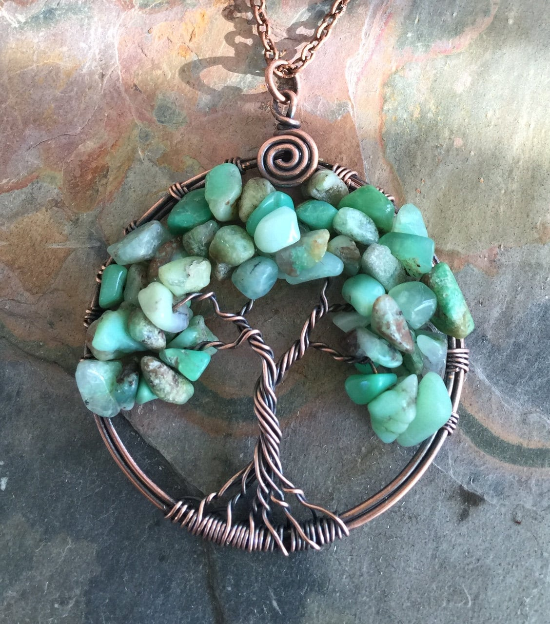 Tree of Life Pendant, Wire Wrapped Green Opal Antiqued Copper Tree ...