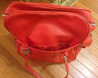 Fire Engine Red Vintage Overnight Bag