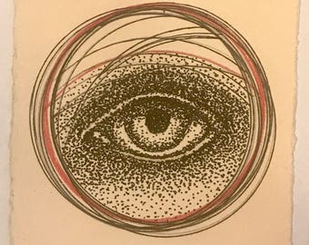 "ALL SEEING EYE tiny drawing (4x4"") pen and colored pencil. Original, signed"