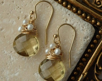 Lemon Quartz Earrings, Gemstone Earrings, Quartz Earrings, Wire wrapped Earrings, Gold Filled Earrings