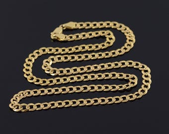 4.8mm Curb Link Fancy Chain Necklace Gold