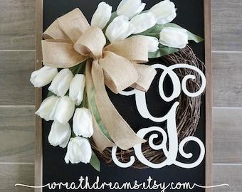 """18""""-32"""" Tulip Wreath. Year Round Wreath. Spring Wreath. Summer Wreath. Door Wreath. Grapevine Wreath."""