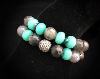 Teal waters ~ beaded bracelet set