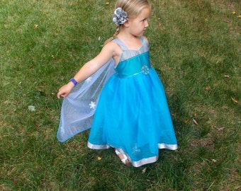 Elsa Costume: Detachable cape, Frozen, sparkle, snowflakes, costume, silver & teal lined, Princess Birthday Party, vacation, rides, queen