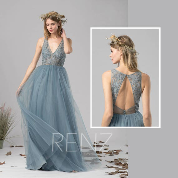 Attractive Bridesmaid Dress Dusty Blue Tulle Dress Wedding DressIllusion