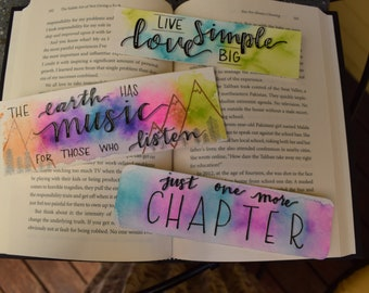 Handmade Paper Watercolor Quote Bookmarks