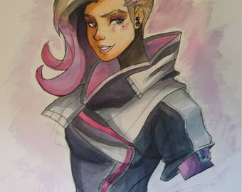 Sombra Overwatch watercolor A3