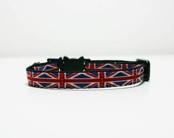 "Breakaway Union Jack British Cat Kitten Puppy Safety 3/8"" Collar"