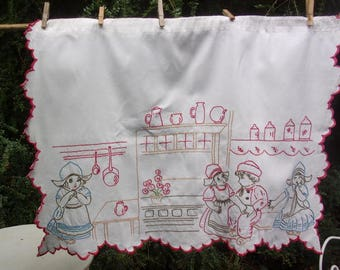Charming little antique curtain embroidered, kitchen, children