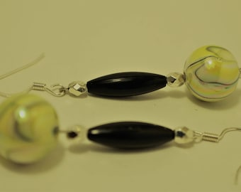 Yellow, Black and White Squirl Earrings with Lucite and Black Wood