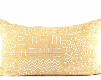"Dandy yellow mudcloth lumbar pillow | yellow african mudcloth pillow | mustard mud cloth lumbar pillow | 12"" x 22"" lumbar 