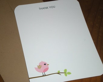 Thank you notes Baby shower Pink or Blue Bird Boy or Girl - Set of 12