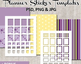 Planner sticker template commercial use, purple yellow / DIY Kit Erin Condren Planner Sticker / Printable stickers templates, Life Planner