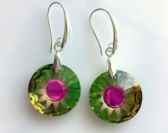 Round Crystal Earrings - Paradise Shine Swarovski Crystal Earrings - Large Round Earrings Green Pink Blue Colors