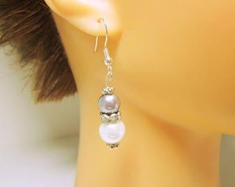 Ohrringe weiß und Silber Ohrringe BRAUTSCHMUCK Hochzeit Zubehör Brautjungfer Perle Hochzeit Tropfen klassische Perle Ohrringe