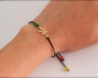 Gold Marijuana rasta bracelet - adjustable marijuana bracelet - reggae bracelet - ganja bracelet  - rastafarian bracelet - gold- rose gold