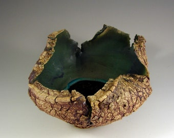 "Organic Ceramic Art – ""Forest Rain Pool""   – Handmade Centerpiece – Wheel Thrown Stoneware Art – Unique Sculpture Pottery - Ships Today"