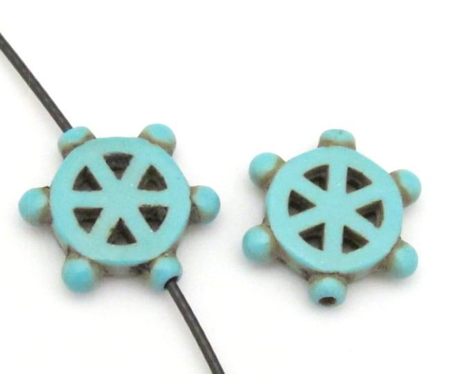 2 Beads - Turquoise howlite  Dharma wheel symbol beads set - BD654A