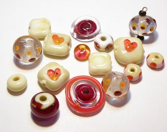 16 Assorted Coordinating Lampwork Boro Glass Beads: Ivory and Shades of Red and Orange -- Lot 3W