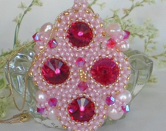 Crystal Beadwoven Rivoli Pink Necklace Unique Jewelry Royal Cameo Breast Cancer Awareness Month