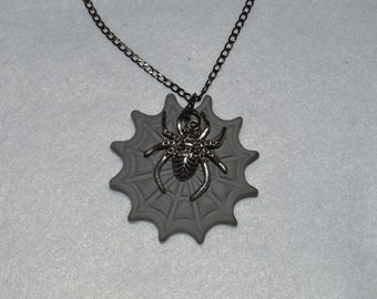 Diffuser Necklace - Spider in Clay Web