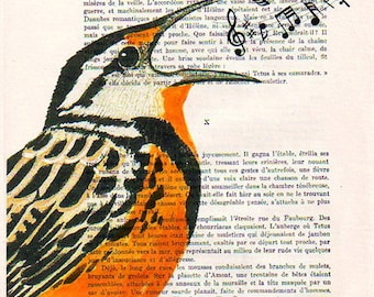 Bird painting, bird print, bird poster, SINGING BIRD
