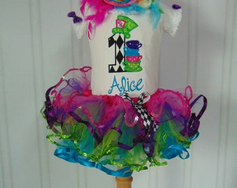 Alice in Onederland Birthday Outfit- Embroidered and Personalized bodysuit/T-Shirt/Tutu. Alice in Wonderland Birthday with over the top bow