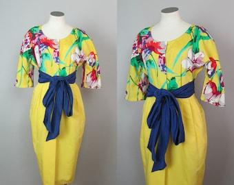 Vintage 1980s Christyne Forti Designer Dress. 80s Floral Dress. Yellow Dress