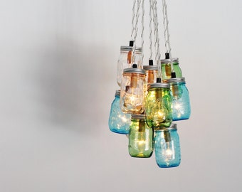 Pendant light featuring a vintage green eo brody crinkle sea glass mason jar chandelier upcycled hanging chandelier lighting fixture featuring green blue clear jars bootsngus modern lighting aloadofball Choice Image
