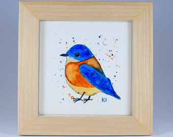 Bluebird Painting - Watercolor Bird - Folk Art Bird - Framed Art - Western Bluebird - Bird Art - Watercolor Painting