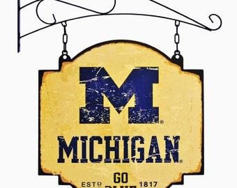 Michigan Wolverines Tavern Sign With Bracket