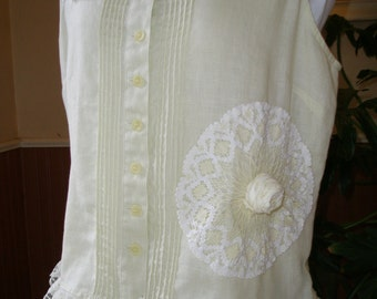 Vintage Laces Upcycled Cotton Lace Boho Top M OOAK