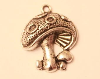 Set of two 20 mm silver plated mushroom charms