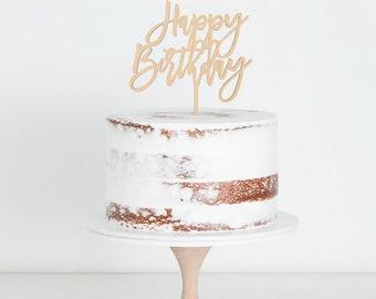 Happy Birthday Cake Topper, Birthday Cake Topper, Calligraphy Cake Topper, Script Cake Topper, Happy Bday Topper, Wood Cake Topper